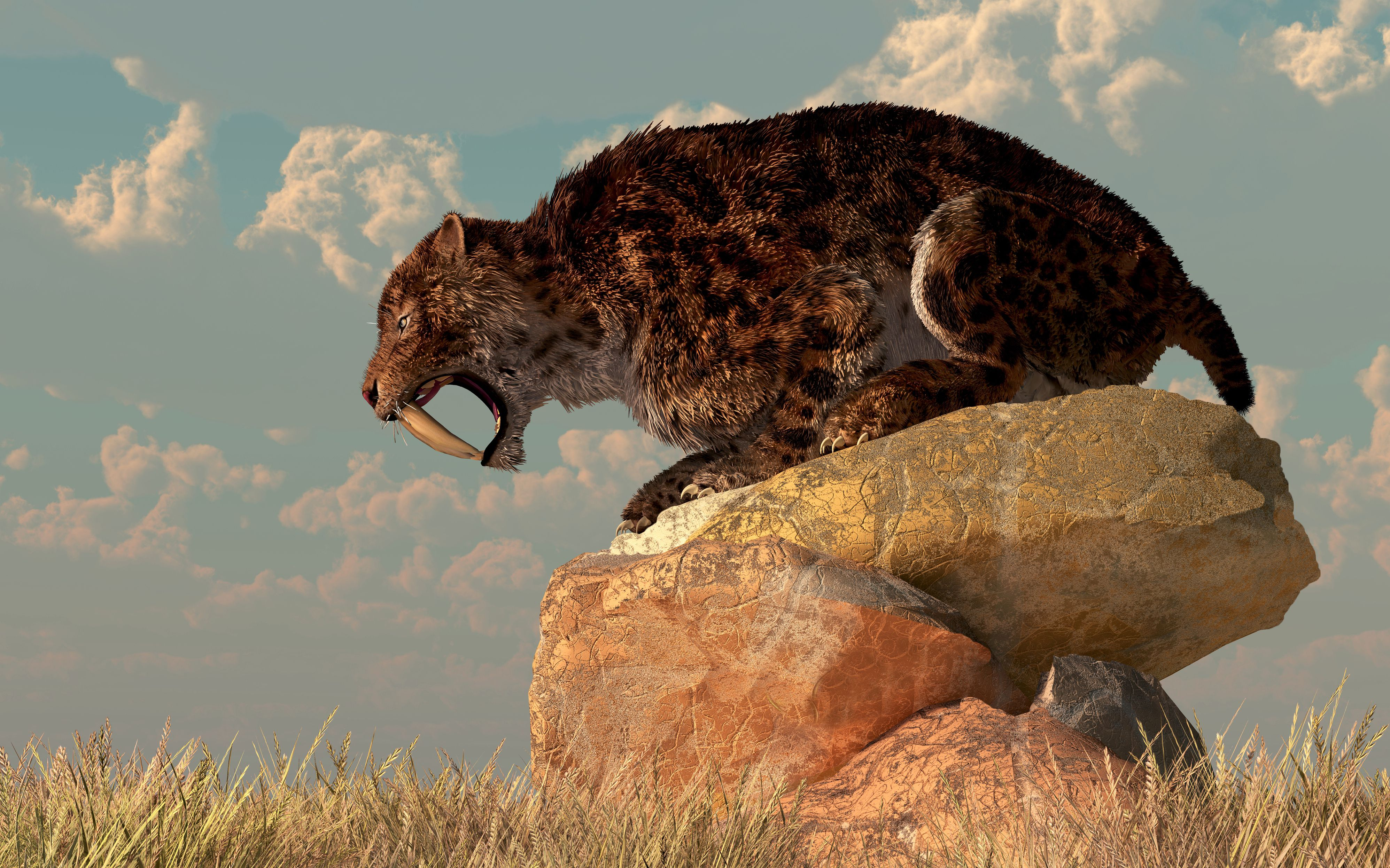 A Smilodon sits on a rock surrounded by golden fall fields.