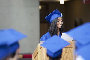 female valedictorian at graduation