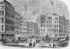 A lithograph of Newspaper Row in New York City in the 1800s
