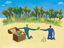 Illustration of a business transaction on an island.