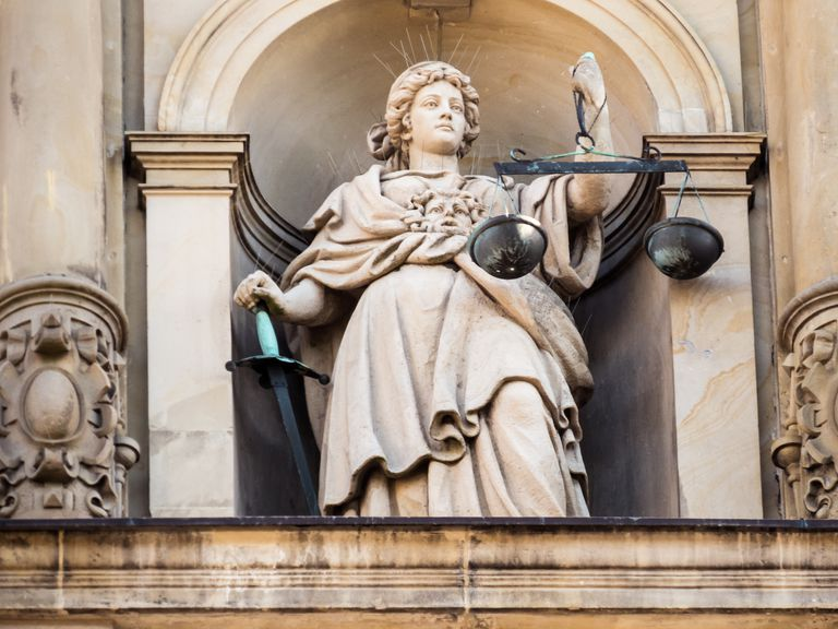 Justitia as Blind Justice, the Sievekingsplatz, Hamburg