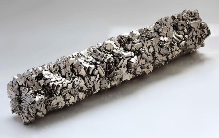 This is a bar of high-purity titanium crystals.