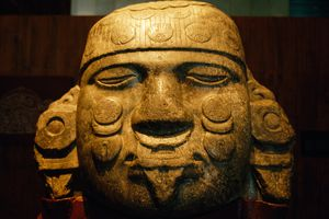 Colossal Head of Aztec Moon Goddess Coyolxauhqui, discovered at Tenochtitlan