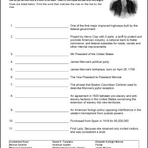 James Monroe Vocabulary Worksheet