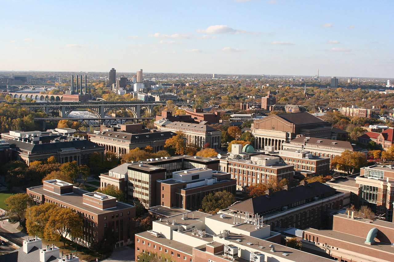 The campus of the University of Minnesota from the East Bank.