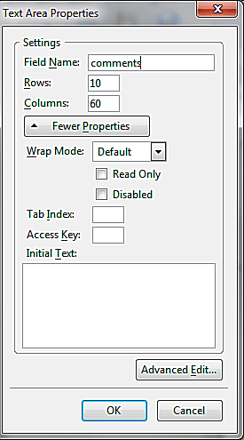 Add A Text Area To A Form With KompoZer screenshot