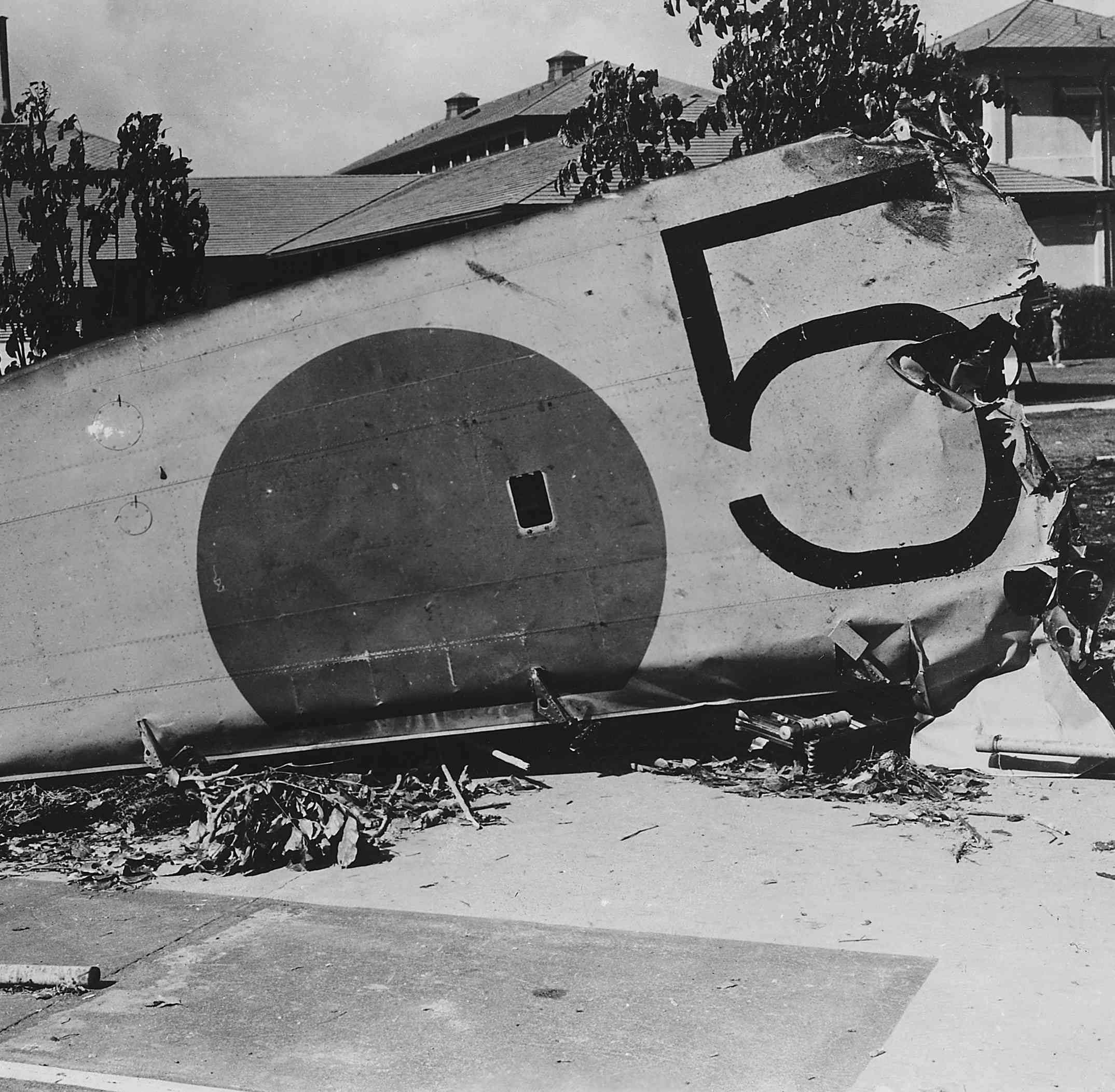 Wreckage of a Japanese bomber after the attack on Pearl Harbor.