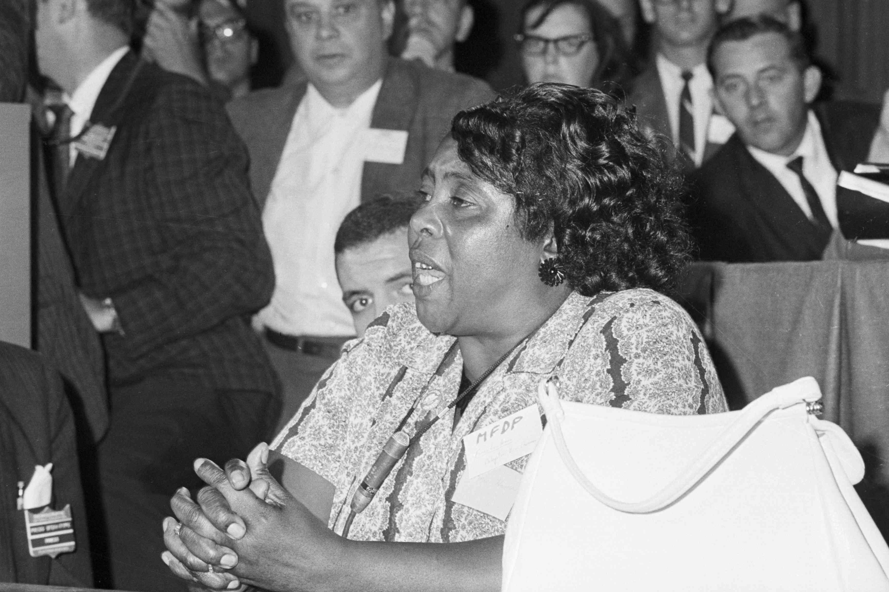 Mississippi Freedom Democratic Party delegate Fannie Lou Hamer speaking