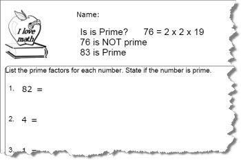Prime Number Worksheet 3