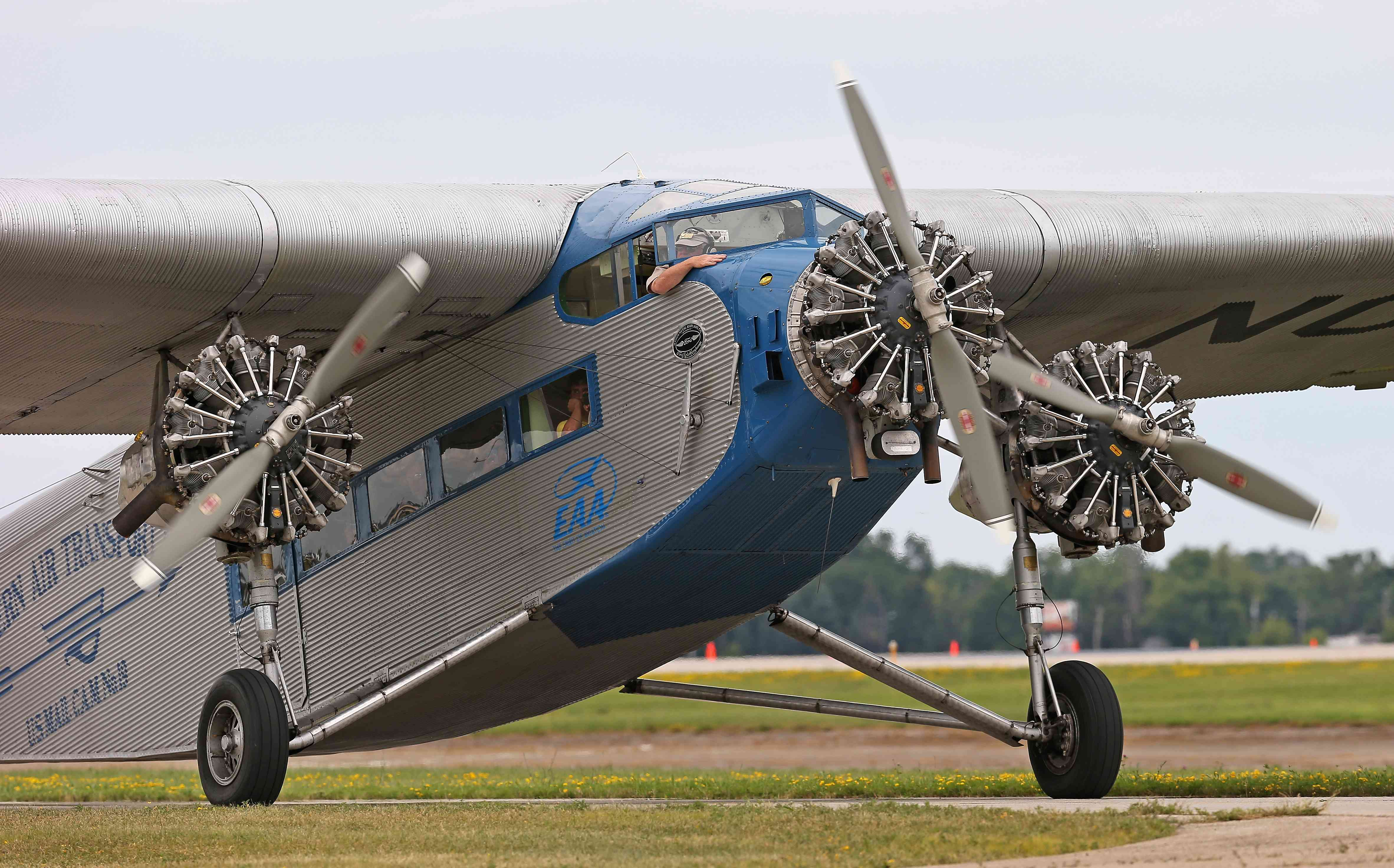 A 1930's era Ford Tri-Motor taxis at the Experimental Aircraft Association AirVenture 2013.