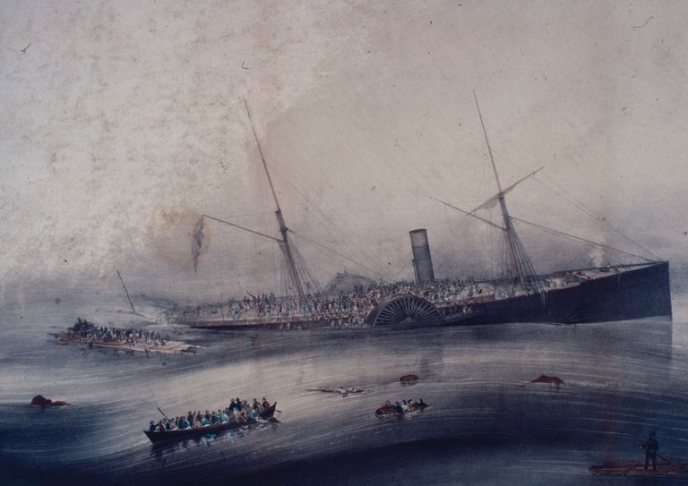 Vintage depiction of the sinking of SS Arctic