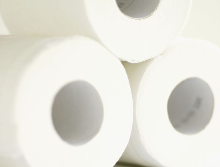 Close up of toilet paper rolls