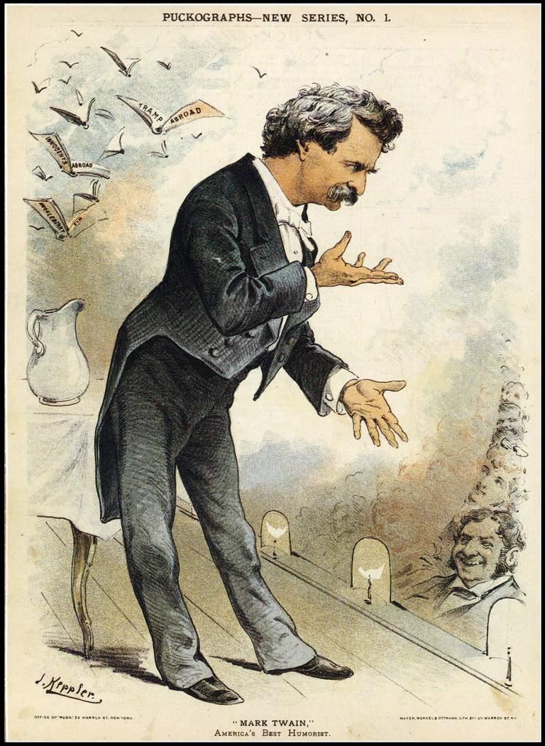 Cartoon Portrait Of Mark Twain
