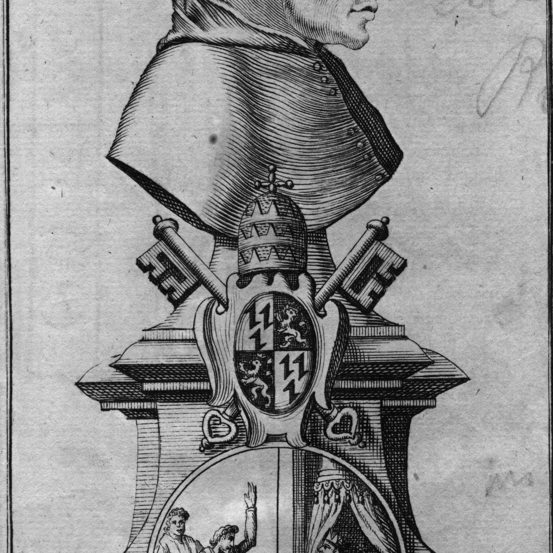 Illustrated portriat of Alexander VI on a pedestal.