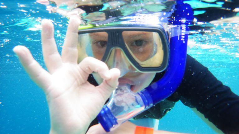 kid scuba diving