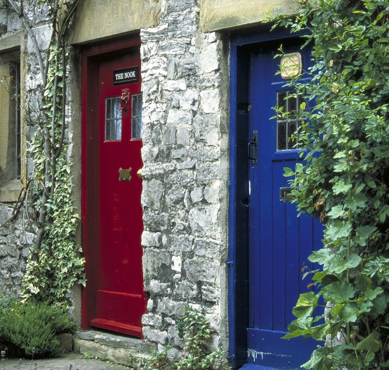 Brightly colored front doors, an English Cottage