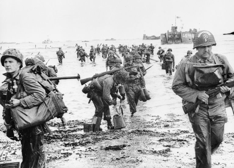 US Assault Troops landing on Omaha beach during the Invasion of Normandy