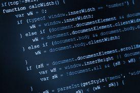 Program code, HTML and JavaScript on LCD screen