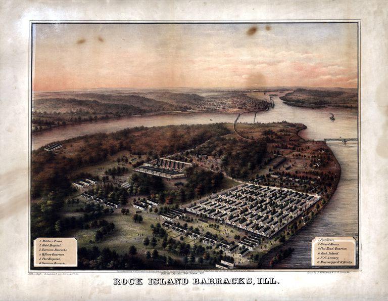 Illinois, 1864, Rock Island, Bird's Eye View