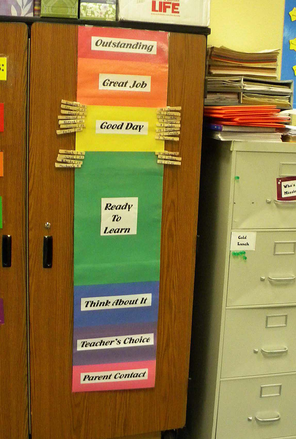 a color classroom behavior chart using clothespins