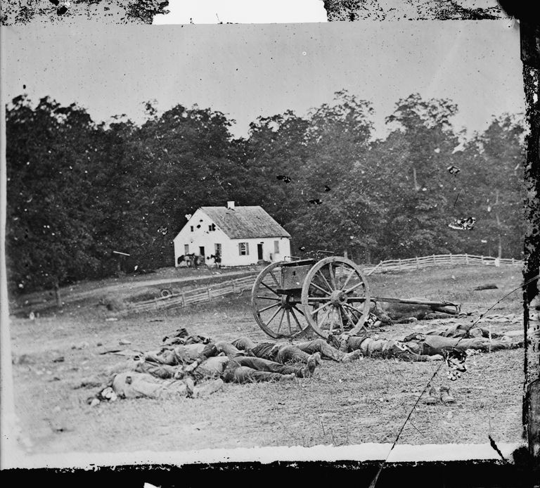Photograph of Dunker Church at Antietam shot by Alexander Gardner