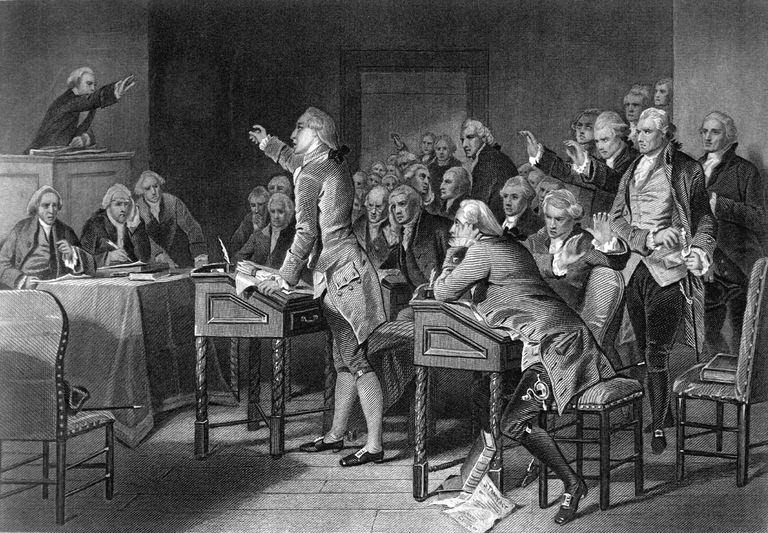 American patriot Patrick Henry gives his famous 'Give me liberty, or give me death' speech in front of the Virginia Assembly, 1775.