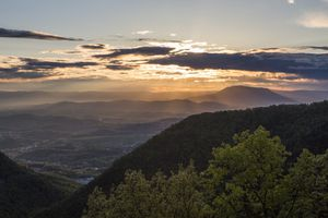 Sunset seen from Blue Ridge Parkway in the Shenandoah Valley of Virginia, USA