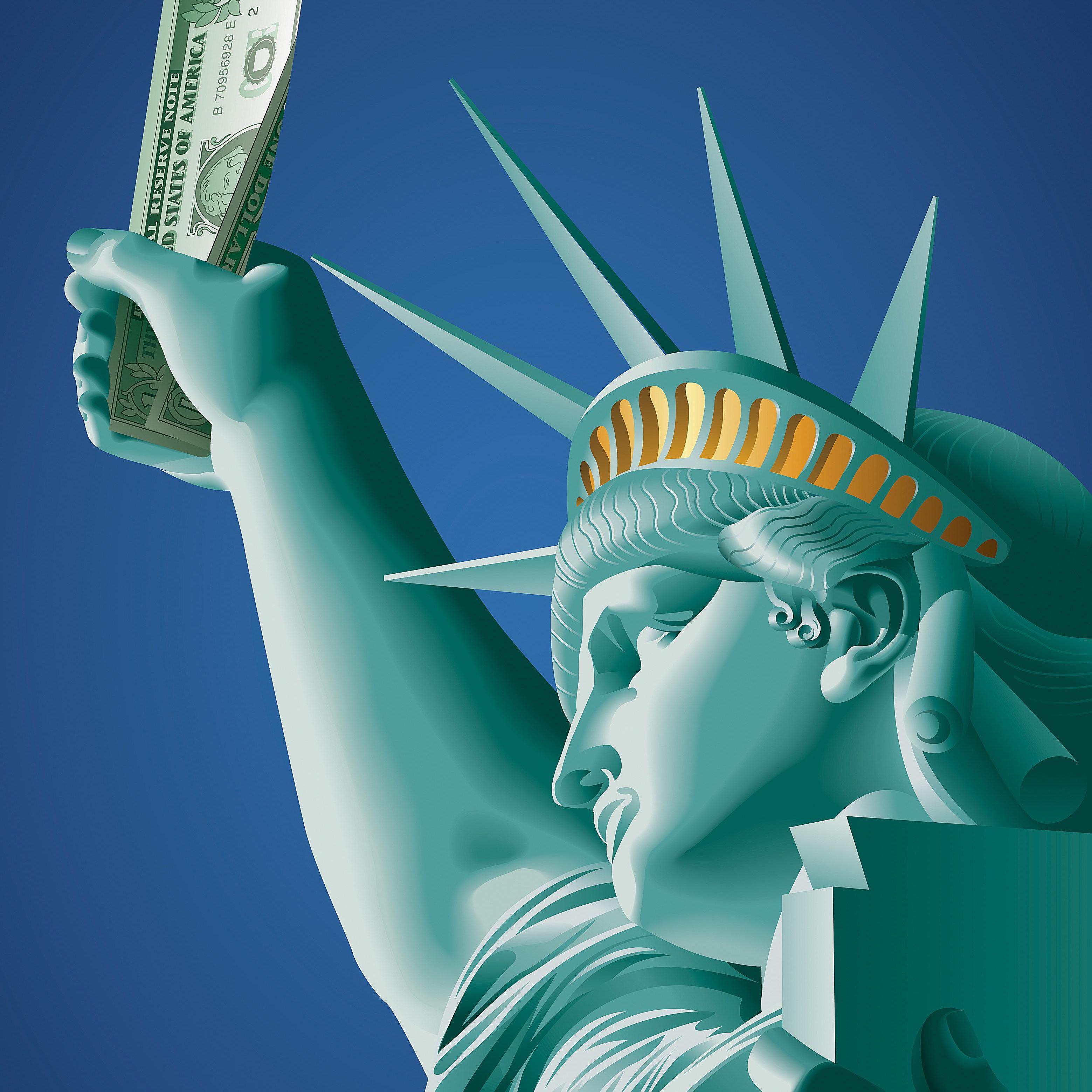 Estatua de la Libertad con un billete de dólar.