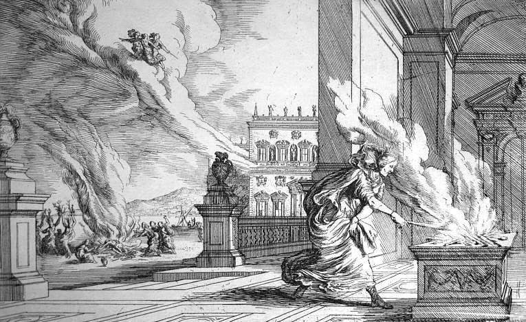 Althaea, by Johann Wilhelm Baur (1659) - Illustration of Althaea from Ovid, Metamorphoses 7.524.