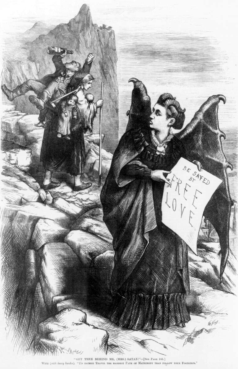 Caricature of American suffragist Victoria Woodhull by Thomas Nast