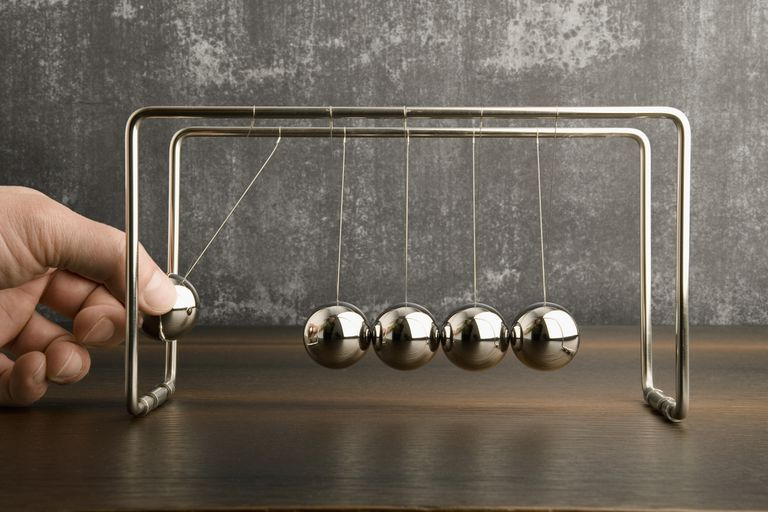 Hand Operating Newton's Cradle