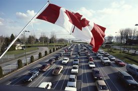 Car Lineup at Canadian Border