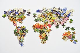 puzzle pieces forming the continents