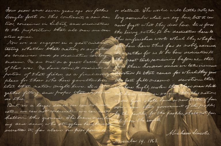 Photo of Abraham Lincoln sculpture at Lincoln Memorial with his handwritten Gettysburg Address overlaid on it