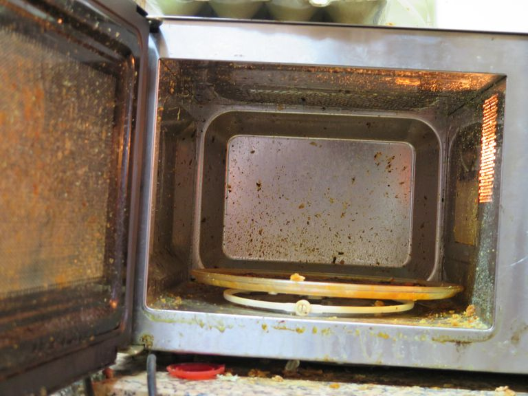 mess inside the microwave