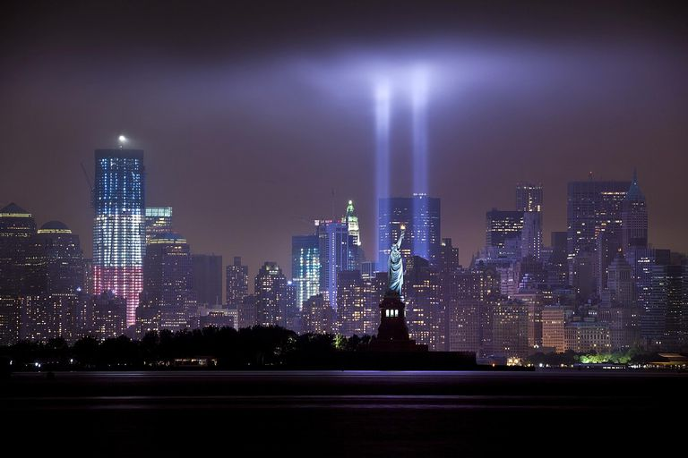 9.11 Tribute in Light over Manhattan