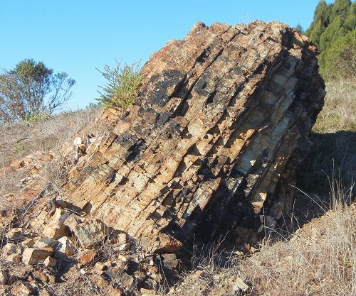 Bedded chert outcrop on a sunny day.