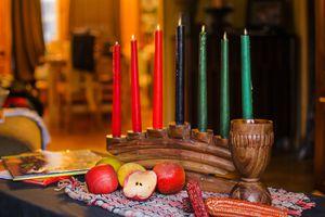 Kinara candles for Kwanzaa celebration
