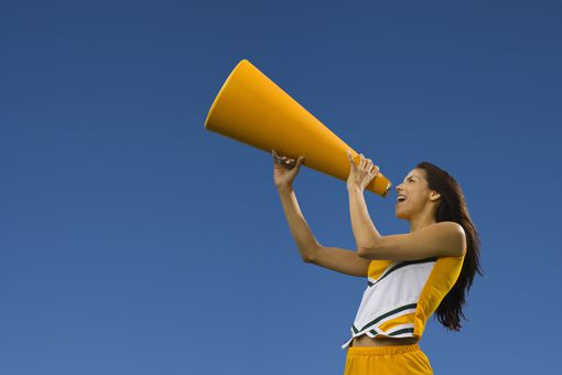 cheerleader leading chant