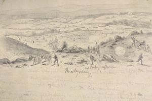 Union positions on Little Round Top depicted in wartime sketch by artist Edwin Forbes