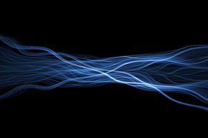 Wispy blue glowing flame fractal