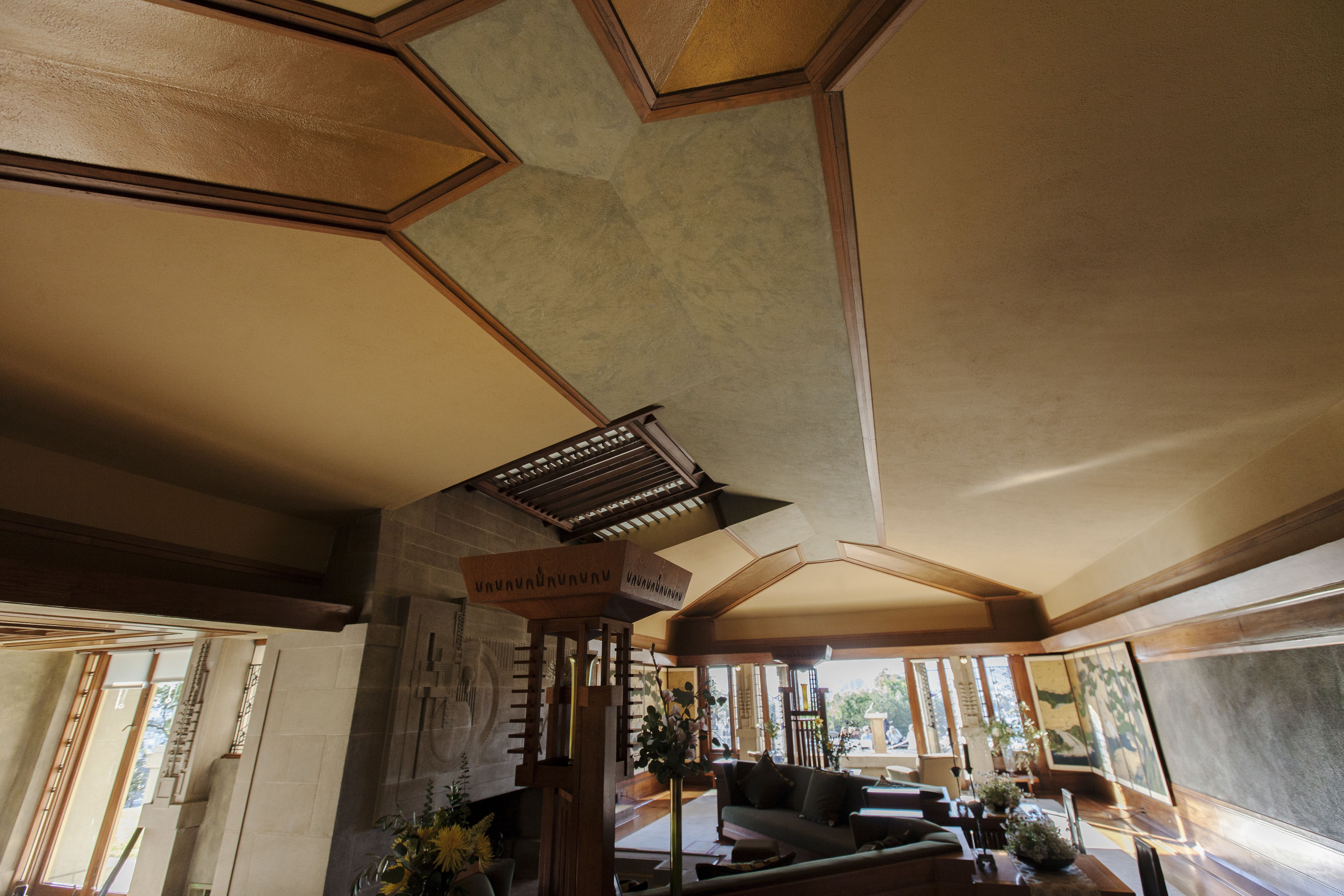 Complicated interior ceiling in Frank Lloyd Wright's Hollyhock House, 1921, built for Aline Barnsdall in southern California