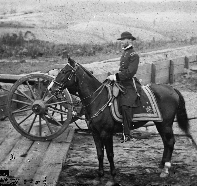 1864 photograph of Union General William Tecumseh Sherman on horseback