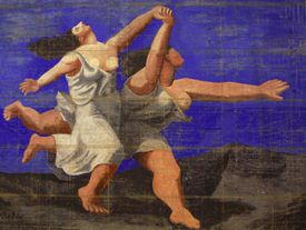 A man and woman in classical robes run gleefully against a dark blue sky.