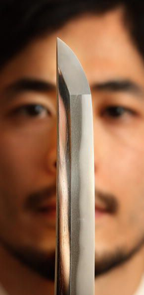 Close up of a katana or Japanese samurai sword.