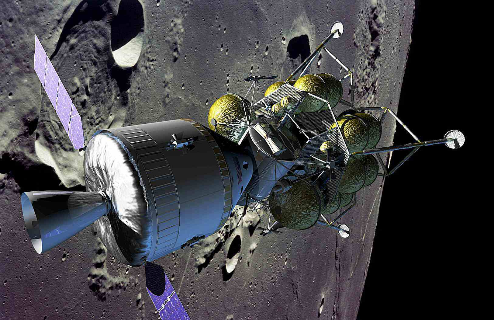 NASA's new Crew Exploration Vehicle (CEV) with solar panels deployed, docked with a lunar lander.