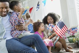family celebrating july 4th