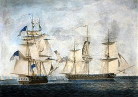 Painting (by Robert Dodd) shows the USS Chesapeake (left) as it approaches the HMS Shannon during the War of 1812.