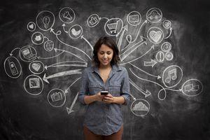 Girl on phone with social media chalkboard