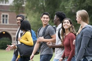 Freshmen University Students Walking on Campus with New Friends